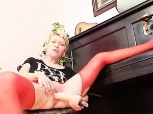 Blonde mature in red stockings perverse adult toy action