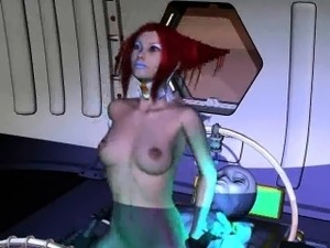 3D cartoon redhead babe getting fucked by an alien