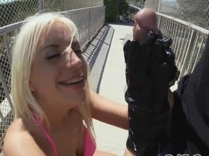 Hot Blondie got pounded on a bridge