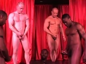 5 hot guys rehearse on stage for a live interracial sex show