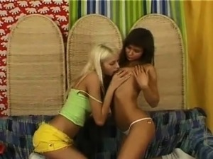 Two teens and a strap on dildo