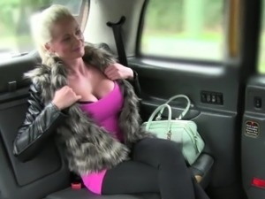 Blonde and sexy Cindy gets her tits and pussy fucked