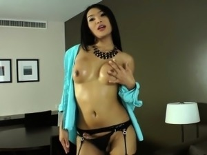 Ladyboy beauty Fanta tasted her own jizz after masturbation