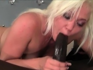 Tight wet blonde blowing monster black cock