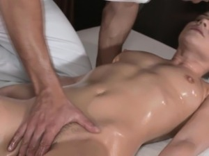 Pierced massage babe fingered on table