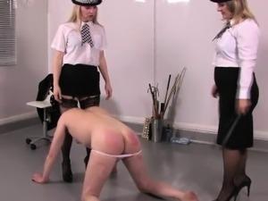 Femdom police kicking sissyfied subs balls