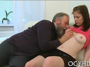 Sexy young luscious chick screwed by old man