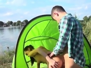 Doctor blowjob Eveline getting pummeled on camping site