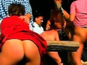 Tirol hotties fucked in outdoor crazy gangbang