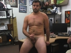 Straight bloke masturbates for cash