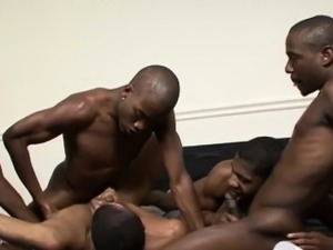 Black twinks have group sex in a student room