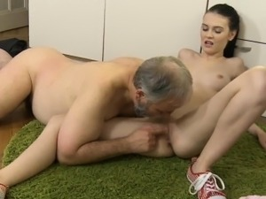 Young hotty experiences the hottest ever fuck by old cock