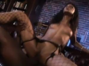 Skinny bimbo rides a massive shaft