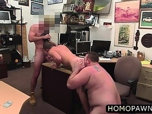 Naked muscle dude takes two cock