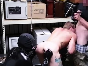 Blowjob for cash in gay threesome with latex fetish