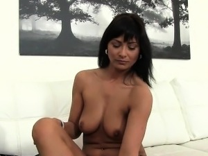 Tanned Euro beauty bangs fake agent
