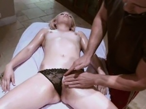 Pretty Blonde Finger Banged On Table After Massage