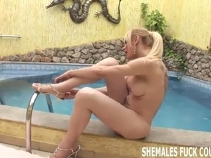 Shemale Barbie is going to take your virgin ass for a ride