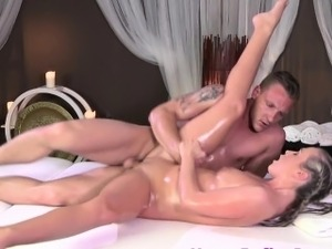 Massage beauty fingered and fucked by masseur