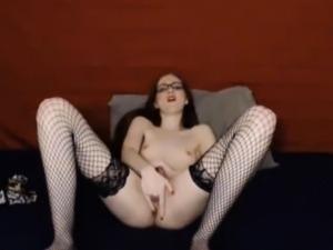 Skinny ass brunette with teacher glasses on webcam