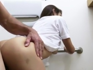 Pretty and horny Stewardess gets fucked by the shop owner