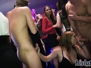 Raunchy babes enjoy pleasuring multiple hard dicks