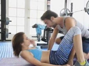 Perky big tit teen fucks at the gym