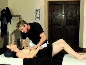 Busty milf gets massaged