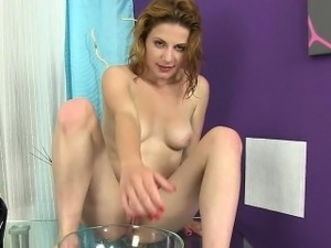 Cute little blonde likes the taste of piss
