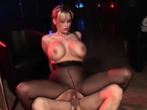 Big tits babe in pantyhose gets a good fucking