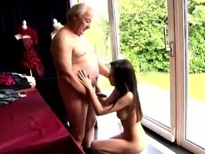 Big blue eyes blowjob Horny senior Bruce spots a lovely chic