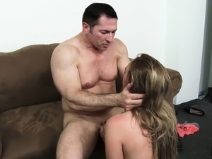 Striking blonde in stockings sucks and fucks every inch of a big dick