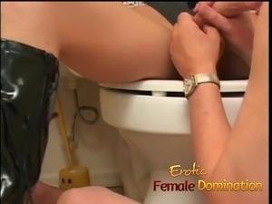 Busty milf dominatrix humiliates her slave with some hardcor