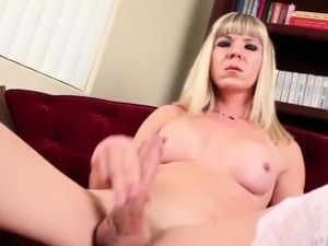 Slutty tranny Lora Hoffman with big cock in hot solo action