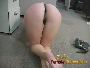 New employee gets back at her boss with some female dominati