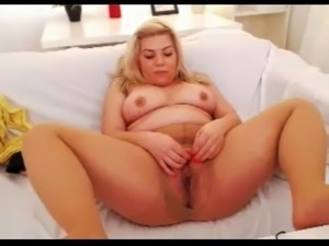Chubby blonde in pantyhose missionary position