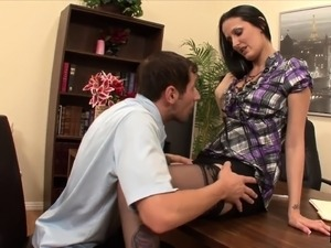 Sultry brunette Hailey Young engages in rough anal sex in the office