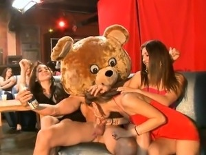 Stripper receives his pecker delighted by several chicks