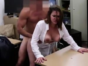 Blonde woman sucks a big hard dick in the office deep