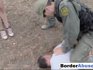 Pale Cutie fucked by a border officer for trespassing