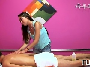 Lewd masseur enjoys playing with her stud's rod