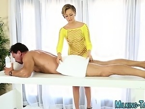 Stunning masseuse jerking