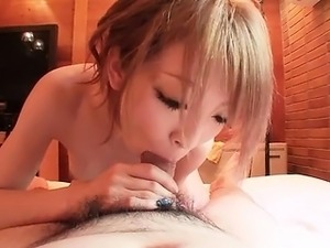 Thin Asian gal gets fingered and gives him head before scre