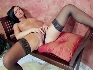 Mandy masturbates in stockings and stiletto heels
