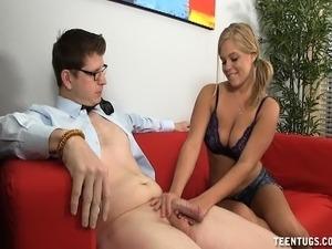 Busty blonde teen with pigtails offers her boyfriend a sensual handjob