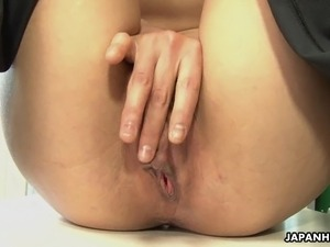 Office lady Mikami rubbing on her soaking wet pussy