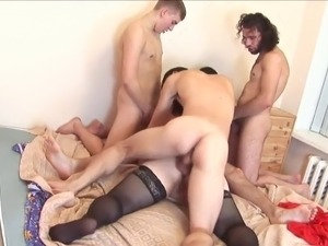 bbw russian mom and her maasive boobs gangbanged by 4 guys big tits saggy...