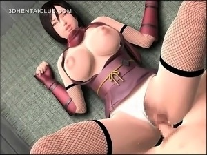 Pussy drilled hentai babe cumming her pussy juices