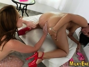 Milk enema ass gets toyed
