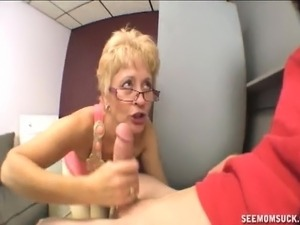 Luscious blonde lady with glasses Mrs Tracy is addicted to young meat